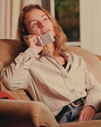 Picture of a woman, talking on the phone