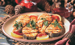 Grilled salmon steaks