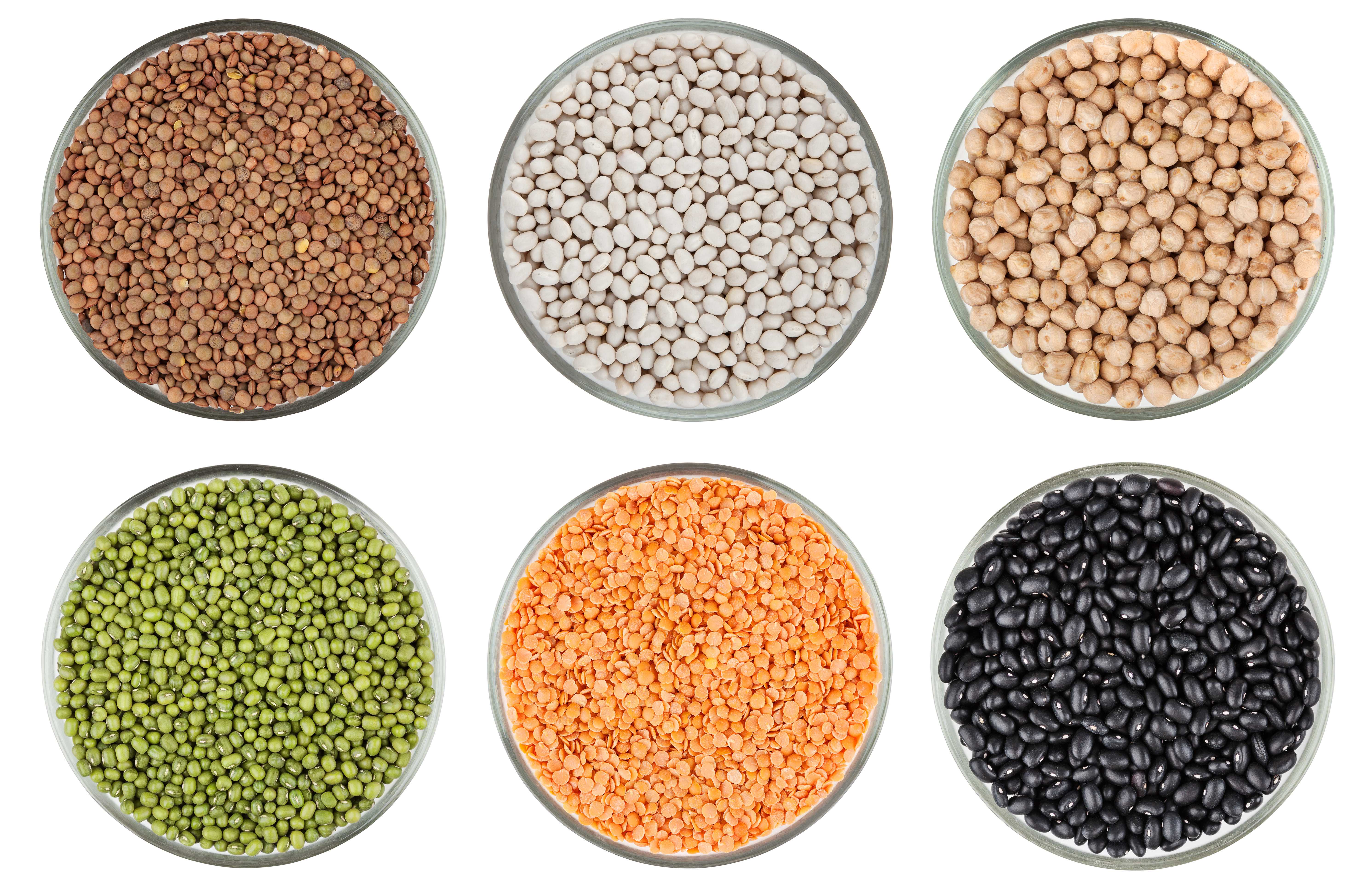 Bowls of lentils and beans.