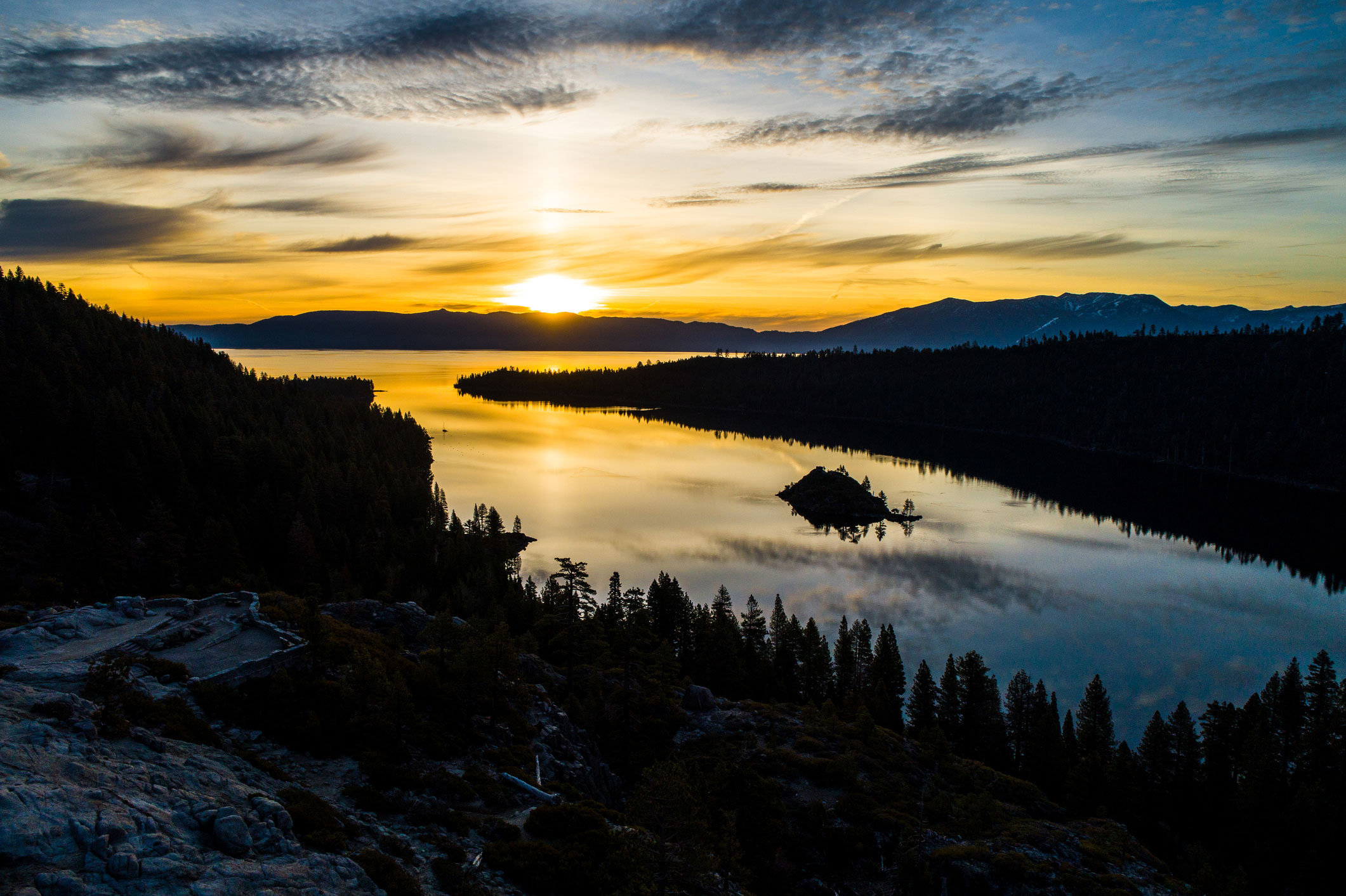 Emerald Bay in Lake Tahoe during sunrise.