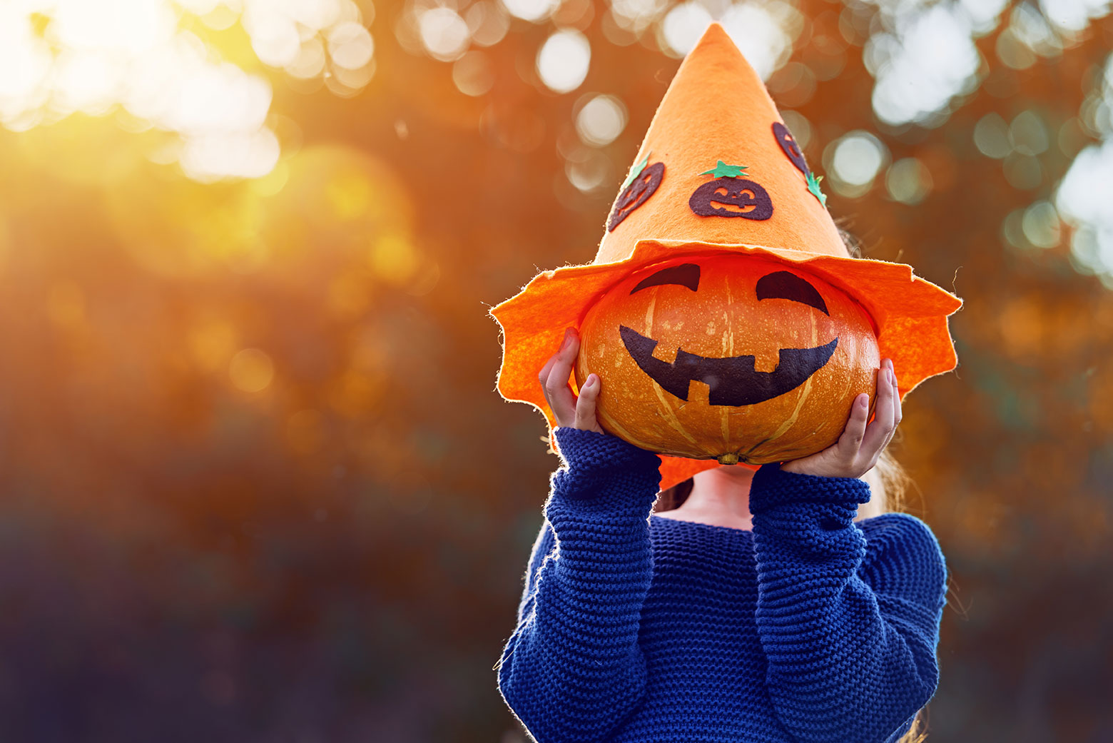 Child holds a decorated pumpkin up in front of their face.